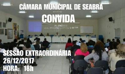 A Câmara Municipal de Seabra convida a população para sessão extraordinária que será realizada hoje dia 26 de Dezembro de 2017 na plenária desta casa.